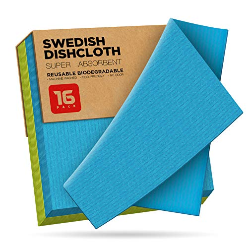 Eco Friendly Swedish Dishcloth 16 Pack CELLAY , Reusable Sustainable Biodegradable Cellulose Sponge Cleaning Cloths for Kitchen Dish Rags Washing Wipes Paper Towel Replacement Washcloths