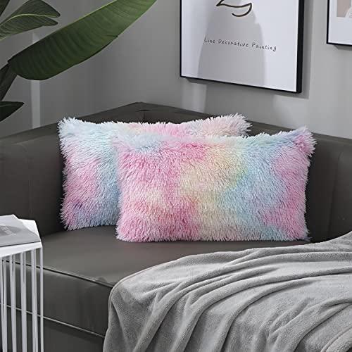 Nanhiking Funda de cojín decorativa suave de pelo sintético, para sofá, dormitorio, coche, salón, al aire libre, juego de 2 unidades (Multi, 30 x 50)