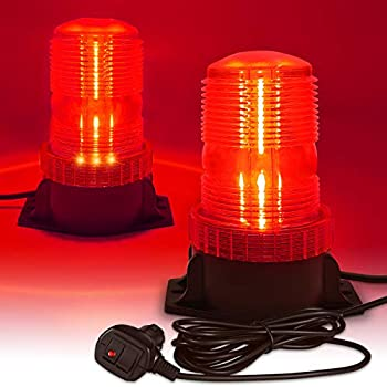 LED Strobe Light 12V-24V Warning Emergency Safety Flashing Beacon Lights with Magnetic and 16.4 ft Straight Cord for Vehicle Forklift Truck Tractor Golf Carts UTV Car Bus  RED