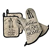 AIYUE Oven Mitts and Pot Holders - Long Sleeves Heat Resistant Oven Gloves with Soft Cotton Infill Non-Slip...