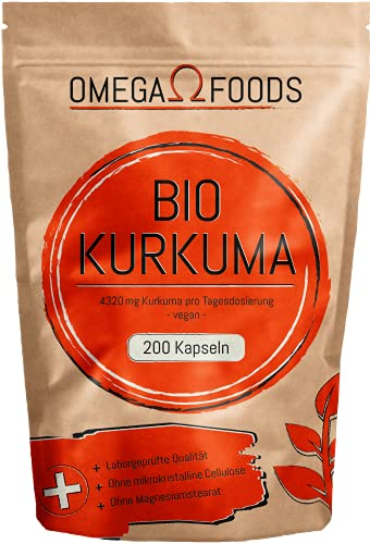 BIO Kurkuma Kapseln - 200 Kapseln BIO Kurkuma - 4560g Kurkuma pro Tagesdosierung - Vegan - Kurkuma und Schwarzer Pfeffer