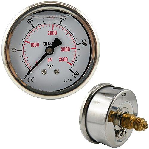 Glycerinmanometer waagerecht Ø 63 mm Chromnickelstahl / Messing, für Druck und Vakuum (Anzeigebereich: -1 bis 9 bar, Ausführung: für Vakuum)