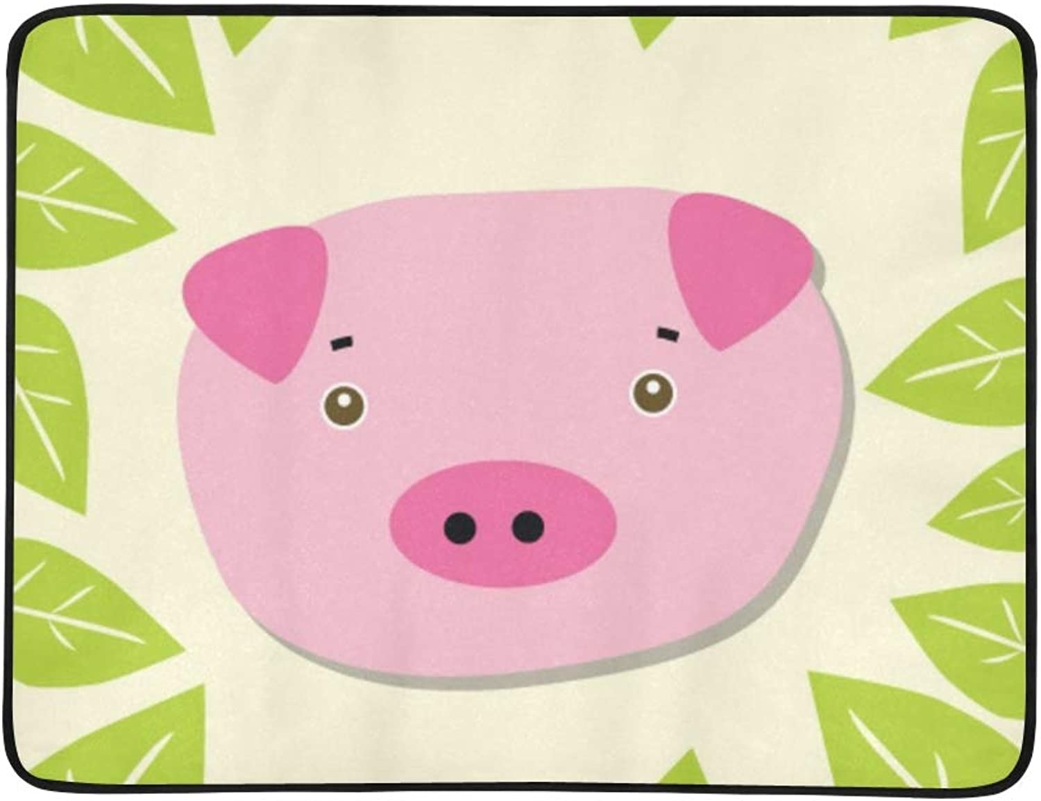 Piggy Forest 3 Portable and Foldable Blanket Mat 60x78 Inch Handy Mat for Camping Picnic Beach Indoor Outdoor Travel