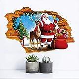 Neujahr Entfernbare Kaputte Wandaufkleber Pvc Santa Claus Gibt Geschenke Aufkleber...