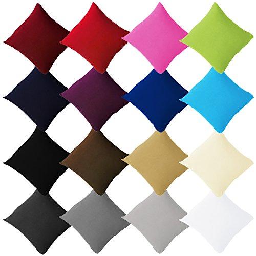 2er Pack Jersey Kissenbezüge mit Reißverschluss aus 100% Baumwolle Kissenbezug Kissenhülle Set viele Größen und Farben Öko Tex, 40x40cm Schwarz