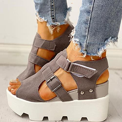 DZQQ 2020 Moda Verano Plataforma cuña Tacones Altos Informales cómodos Zapatos de...