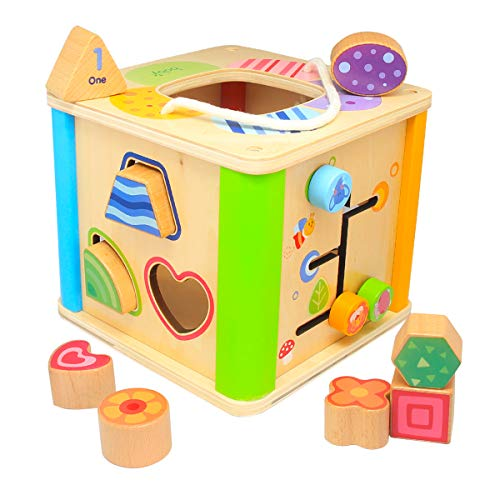 Boby Shape Sorting Cube Toys, Wooden Sorter Activity Center for Toddlers,Educational Learning Toys with Bead Maze and Bright Colours, Great Gift for Girls and Boys - Best for1, 2, and 3 Year Olds