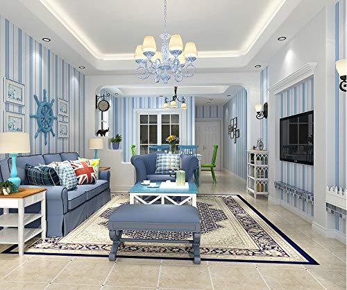 Vliesstoff Tapete Blau Vertikal Gestreiften Wohnzimmer Tv-hintergrund Wand Papier Mittelmeer Schlafzimmer Kinder Tapete Umweltschutz Segeln Blau