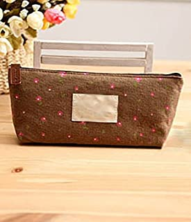 Pxio Printed Pencil Box Student Stationery Cosmetic Bag (Coffee)