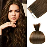 16 inches Remy Tape in Extensions Human Hair Full Cuticle Virgin Hair Straight 40g 20pcs Color No.4 Medium Brown