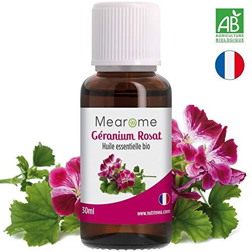 Huile essentielle de GERANIUM ROSAT BIO (Pelargonium Asperum) - Brûlures, Eclat de la peau, Diffuseur, Aromathérapie - 30 ml - 100% Pure et Naturelle, HEBBD, HECT - Distillée en France - Mearome