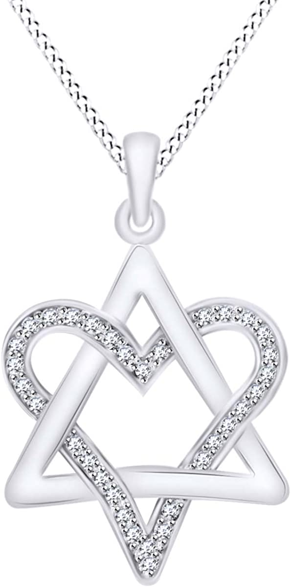 0.25Ct Round Cut Created Diamond Accent Infinity With Heart Pendant 18 In 10K White Gold Plated 4 Prongs