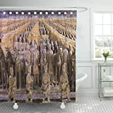 vrupi Waterproof Fabric Shower Curtain Hooks Xian May 30 The World Famous Terracotta Army Part of Mausoleum First Qin Emperor and UNESCO Extra Long 72