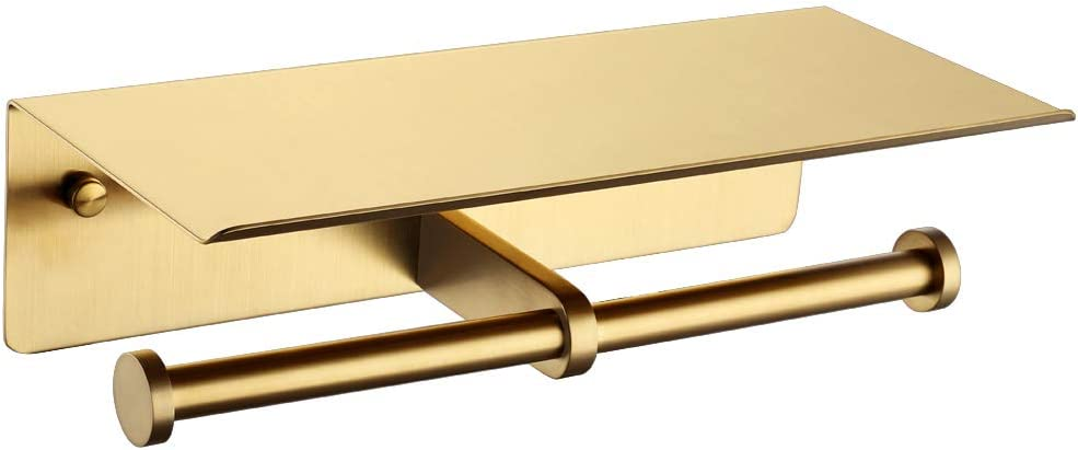 Double Toilet Paper Phone Holder Brushed 304 APLusee Gold S SUS Attention Sales for sale brand