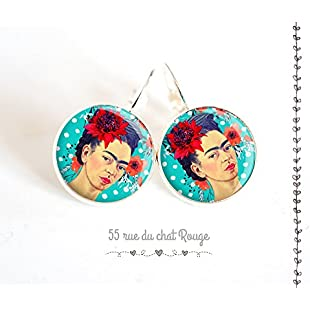 Silver cabochon earrings, Frida Kahlo, Mexico, Gypsy, boho chic, boho, ethnic