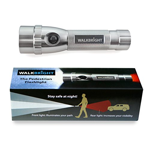 WALKBRIGHT Safety Flashlight for Walking at Night - Bright Front Light illuminates Your Path - Red Rear Light Provides Visibility from Behind - Stay Safe When You Walk at Night!