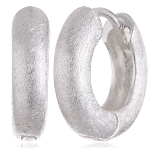Vinani Klapp-Creolen rund gebürstet Sterling Silber 925 Ohrringe CRG