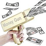 LUYE Money Gun Cash Rain Toy Guns 100 PCS Play Money Prop Gun for Playing Movies Party Game Gifts for Birthday Enjoyment Spray Cash Gun(Gold)