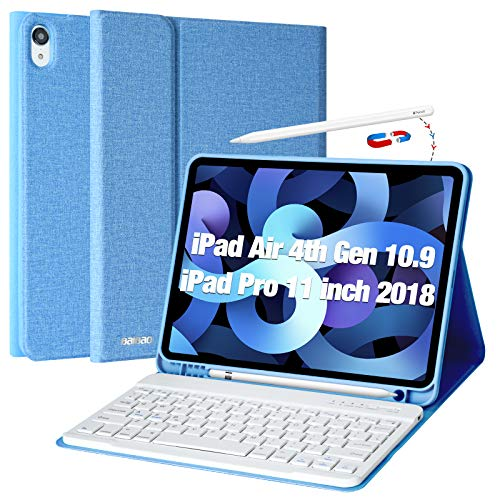 Keyboard for iPad Air 4 2020, Case for iPad 10.9 with Bluetooth keyboard for iPad Air 2020 (4th generation) 10.9 / iPad Pro 11 2018, iPad 2020 Cover with Wireless Detachable Keyboard and Pen Slot