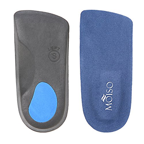 MOISO Premium 3/4 Length Orthotic Insoles for Plantar Fasciitis Flat feet with Arch Support for Men & Women (S - W7-8.5 | M5.5-7)