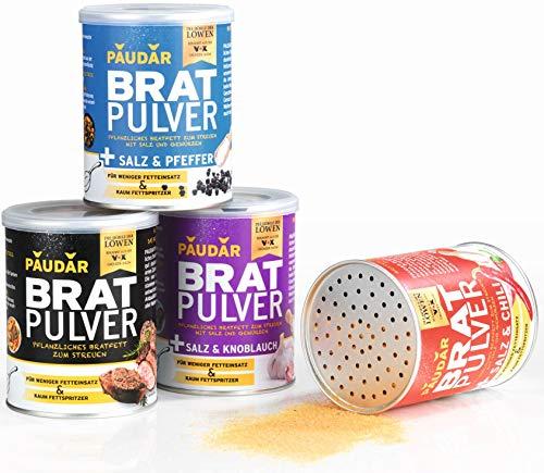PAUDAR Bratpulver TryMe | 100% pflanzliches Bratfett zum Streuen, geschmacksneutral und mit Gewürzen, weniger lästige Fettspritzer | fettarme Zubereitung von Fisch, Fleisch und Gemüse [4er-Set]