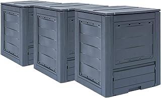 vidaXL 3x Garden Composters Gardening Outdoor Patio Compost Recycling Waste Bins Trash Box Can Fertiliser Container Grey 7...