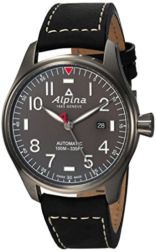 Alpinaメンズ' Startimer ' Swiss AutomaticステンレススチールandレザーCasual Watch, Color : Black (Mod...