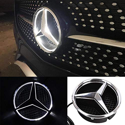 Mercedes Benz LED Emblem White Light, 2013-2015,Car Front Grille Badge, Drive Brighter Illuminated Logo Hood Star DRL for Mercedes Benz A B C E R GLK ML GL CLA CLS Class
