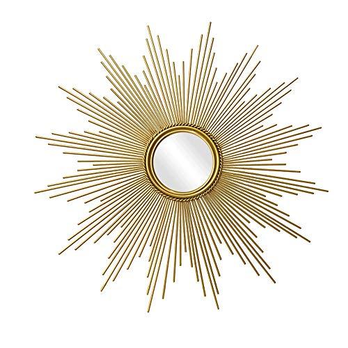 PPHDecor Porche de Pared Espejo Decorativo Fondo nórdico Pared Diseño de Sol Espejo Sala de Estar Decoración de Pared Hierro Forjado Decoración de Pared Color Dorado (Color : B, Size : 60cm)