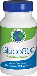 Natural Earth Supplements Gluco800  Supports Healthy Blood Sugar Levels Targets Cholesterol and Aids Weight Loss  Herbal Dietary Supplement  30 Day Supply
