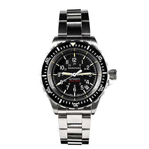 Marathon Horloge WW194006BRACE-NGM GSAR Zwitserse Made Military Issue Duiker Automatische Horloge met Tritium (41mm, RVS Armband, Geen Regering Markeringen)