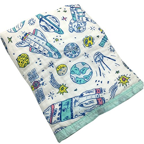HGHG Bamboo Cotton Muslin Stroller Blanket -- 4 Layers Muslin Cotton Blanket Cosmos/Planet Blanket (Cosmos, Large)
