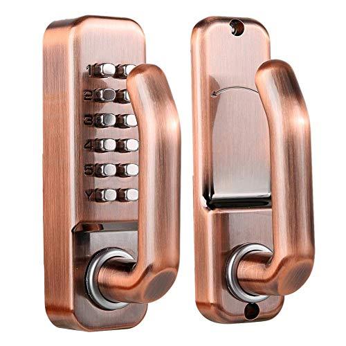 Cerradura de puerta con botón pulsador digital inteligente, teclado mecánico antirrobo, código sin llave, contraseña, cerradura a prueba de agua, para puertas de hierro de metal de aluminio y madera