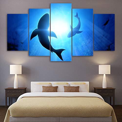 adgkitb canvas Lienzo Moderno Wall Art Poster Decoración del Hogar Cinco Piezas De Tiburón...