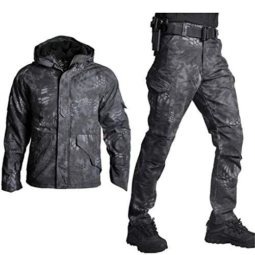 TH&Meoostny Traje de Caza Airsoft Camuflaje Ejército Militar Uniforme táctico Pantalones de Combate Conjunto de Chaqueta de Caza Black Python XXL