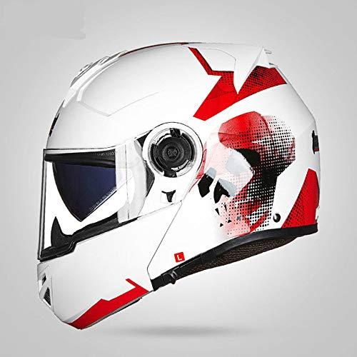 Neues Motorrad Motorrad Motorrad Offroad Helm Helm Flip Helm Schutz, Staubschutz, Doppelscheibe roter Schädel L