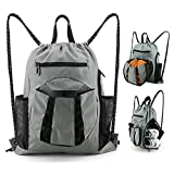 BeeGreen Drawstring-Backpack-Basketball-Gym-Bag with Ball Holder & Shoe Compartment Sport Equipment Bag for Soccer Volleyball Football Baseball (Grey Drawstring Backpack)