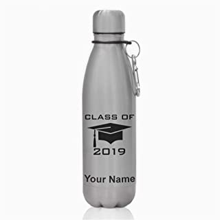 Water Bottle, Grad Cap Class of 2019, Personalized Engraving Included