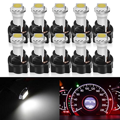 Partsam 10x White PC74 Twist Socket T5 Wedge 37 70 1-SMD 5050 LED Dashboard Instrument Cluster Light