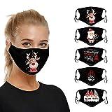 Lulupi Mundschutz Weihnachtsmaske 3D Weihnachten Waschbar Maske Baumwolle Stoff Mund-Nasenschutz mit Filter Atmungsaktiv Stoffmaske Alltagsmaske Weihnachtsmotiv Multifunktionstuch Halstuch