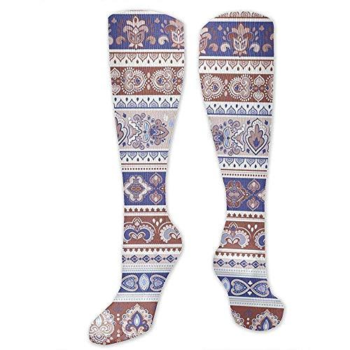 Zome Lag Grappige sokken, hardloopsokken, vrijetijdssokken, atletisch crew sokken, vector henna tattoo stijl patroon heren jurk vakantie sokken, unisex tennissokken 50 cm