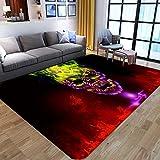 Girls Boys Teens Horror Skull Room Rug Red Black Area Rugs Carpet for Home Decoration Kids Gifts Sugar Skull Large Area Rug for Living Room Bedroom 5x8 Feet