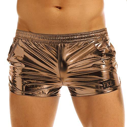 KHDFYER Herren Shiny Metallic Night Club Party Shorts Elastische Taille Boxershorts Performance Show Sommer Clubwear Kostüm Trunks-Kaffee_M.