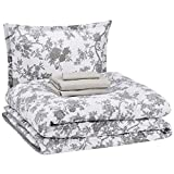 AmazonBasics 6-Piece Comforter Bedding Set, Twin / Twin XL, Grey Chinoiserie, Microfiber, Ultra-Soft