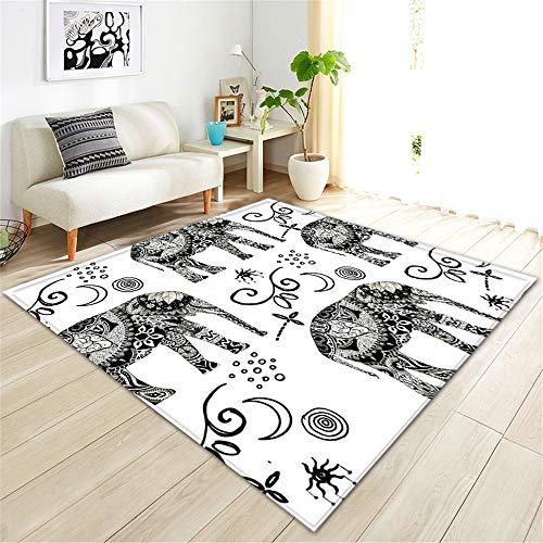 LGXINGLIyidian Anpassbarer Teppich Kreative Hand Gezeichneter Kunstelefant 3D Druckte Rutschfesten Weichen Teppich Der Wohngestaltung 200X290Cm