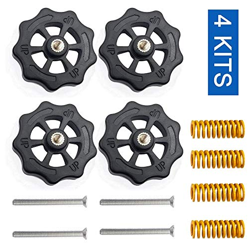 3Dman 4PCS Upgraded Hand Twist Leveling Nut Diameter 40mm + 4PCS Hot Bed Spring Compression+ 4PCS M4X40mm Screws for Creality 3D Printer CR-10 CR-10s Ender 3 Ender 3 Pro Ender 5(4 Set)