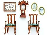 2 Stühle, Uhr, 2 Bilder und Schmetterlingskasten