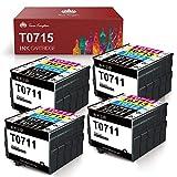 Toner Kingdom Reemplazo para Epson T0711 T0712 T0713 T0714 Cartuchos de tinta Alta capacidad Compatible con Epson Stylus SX218 SX515W DX4000 DX4400 DX7400 DX8400 SX115 SX205 SX215 SX405 SX210(20 Pack)