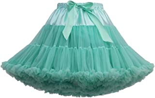 Lazzboy Donna tutù Tutu Gonna Tulle Mini Bow Pieghettato Danza Organza Costume Princess Dress-up PettiGonna 38-50