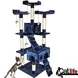 Bakaji Rascador para gatos Árbol para gatos Sisal Parque Giochi Caseta gato tira arañazos uñas Alto 170cm azul